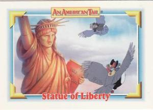 Fievel and Henri the pigeon fly past the Statue of Liberty www.tradingcarddb.com